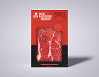 Free Meat Cutout Box Mockup