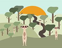 """Иллюстрация """"Еноты в лесу"""""""