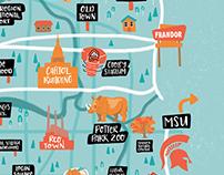 Lansing Michigan - Illustrated Map