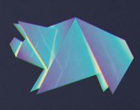 Neon origami pig