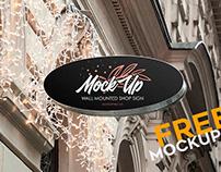 Wall Mounted Shop Sign – Free PSD Mockup