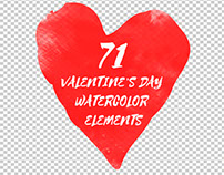 71 Valentines Day Watercolor Elements