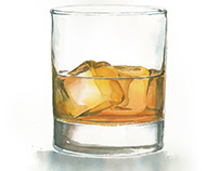 watercolor whiskey glass