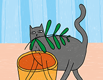 "Animation ""Cat breaks a plant"""