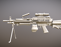 M249 Machine Gun Low Polygon Free Download