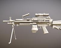 M249 Machine Gun Low Polygon Free Download