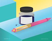 Pen with Ink Bottle ( illustrator art )
