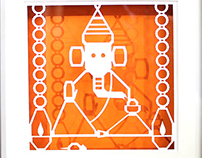 Ganesha - Papercut Shadow Frame