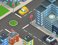 "Artwork for mobile game ""Traffic Madness"""