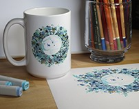 Arctic fox on a mug