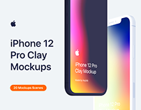 iPhone 12 Pro - 20 Clay Mockups Scenes - PSD