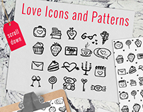 St Valentine's Day doodle icons and patterns