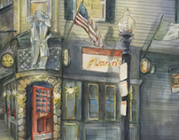 Night Time Watercolor Scene of Flann's