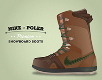 Illustration of Nike & Poler Premium snowboard boots