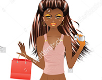 Afro American Shopping Girl