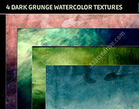 4 Dark grunge watercolor backgrounds - hi-res textures
