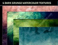 4 Dark grunge watercolor backgrounds - hi-res textures
