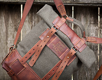cloth and leather rucksack #079