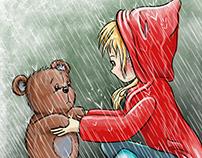 Girl and Bear in Rain