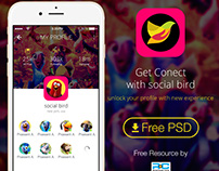 Social Bird App Mobile UI for iPhone 6s Plus