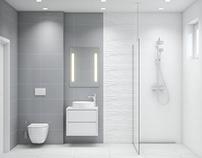 Standard bathroom project #blanco #gris #flow