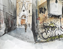 Watercolors of Italian panorama