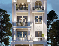 Mẫu nhà biệt thự phố tân cổ điển 4 tầng 8x16m