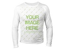 Front Long Sleeve T-Shirt Mockup Generator Templat