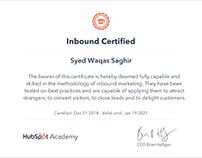 Hubspot Inbound Certified | Syed Waqas Saghir