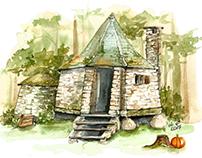Watercolor Hagrid's Hut