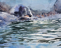 """Sea"" paper watercolor 20x30"