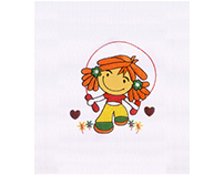 HAPPILY ROPE SKIPPING GIRL APPLIQUE EMBROIDERY DESIGN