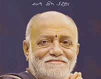 Morari Bapu Digital Oil Painting