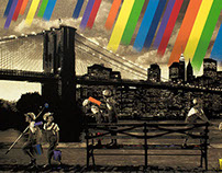 """""""Rainbow Inc./Brooklyn Bridge"""" by Roamcouch"""