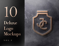 10 Deluxe Front Logo Mockups - PSD