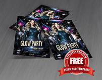 Glow Party Flyer PSD Template