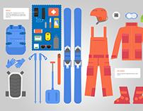 Ski flat icons