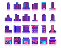 30 Night Building Icon & Illustration