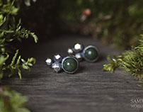 Moss stones jewelry set