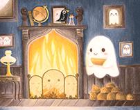 Little ghost making fire
