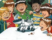 Illustration - Enfant et livre scolaire