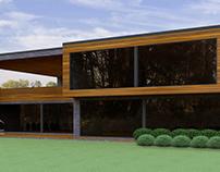 Двухэтажный дом с плоской кровлей