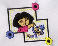 FLOWER FRAMED BOOTS AND DORA EMBROIDERY DESIGN