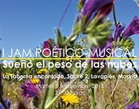 Cartel para jam de poesía y música. madrid. 2015.