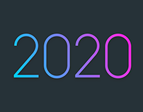 Fancy 2020 graphic with gradient and shadows