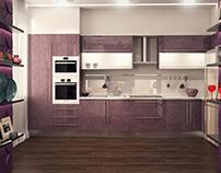 Кухня-столовая , выполнена в фиолетого-белых цветах.