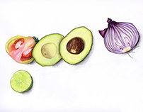 Compilation of Guacamole ingredients