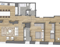 Floor plan 2D rendering in Vic (Barcelona)