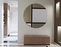GEO | Hammered Metal Mirror - Living Room