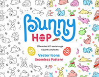 Bunny Hop - Seamless pattern and icons